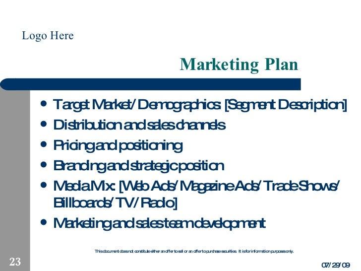 Business Plan Highlights Template
