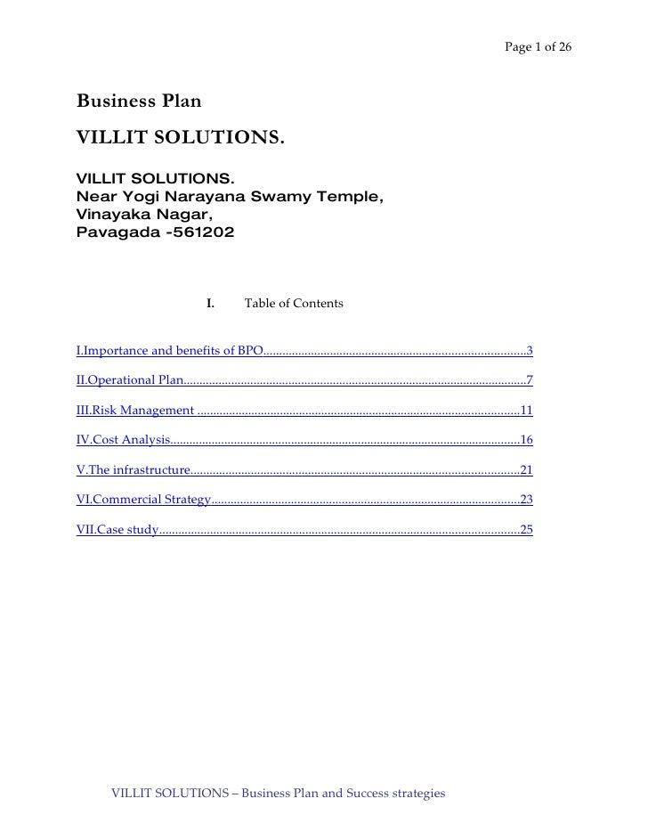 Page 1 of 26    Business Plan VILLIT SOLUTIONS. VILLIT SOLUTIONS. Near Yogi Narayana Swamy Temple, Vinayaka Nagar, Pavagad...