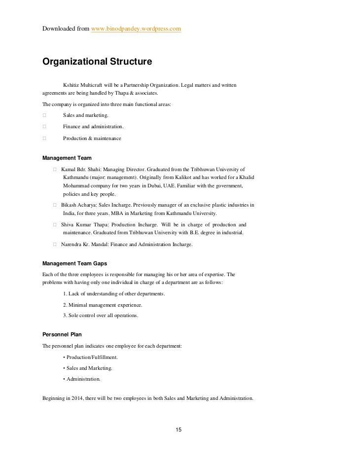Downloaded from www.binodpandey.wordpress.comOrganizational Structure         Kshitiz Multicraft will be a Partnership Org...