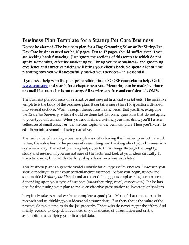 Business Planstartuppetcarebusiness - Start up business plan template free