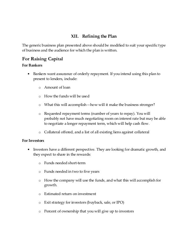 Business Planstartuppetcarebusiness - Generic business plan template