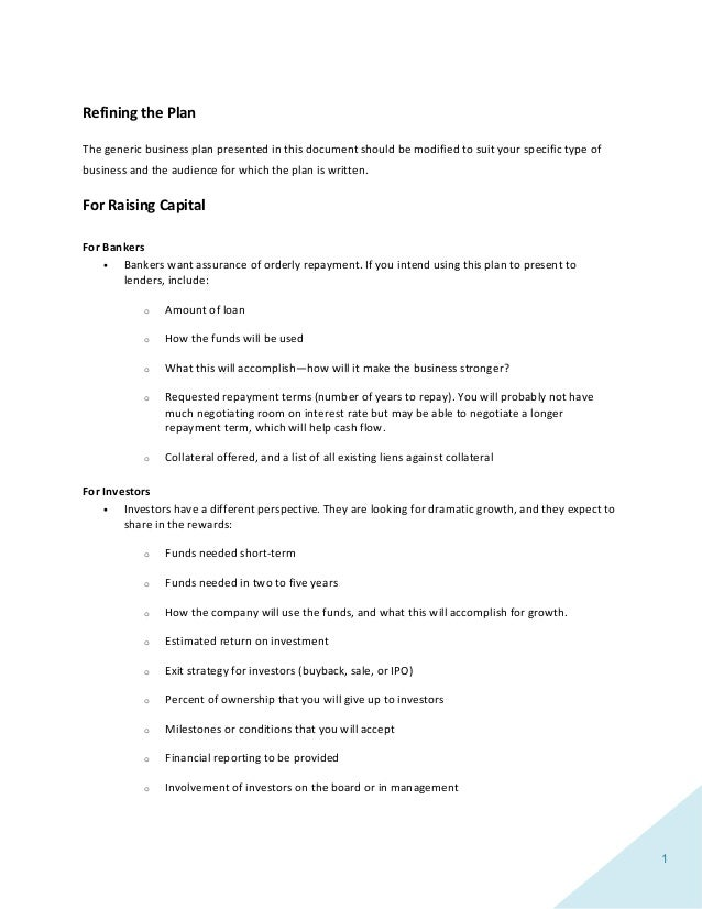 Business plan template 2 1 refining the plan the generic business plan presented in this document friedricerecipe Image collections