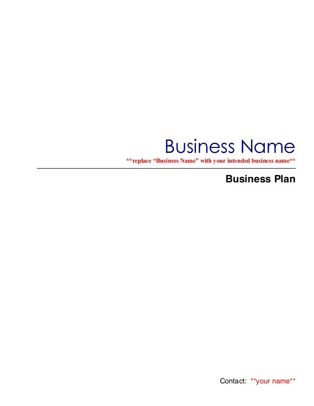 Business plan template master plansc business namereplace business name with your intended business name wajeb Image collections