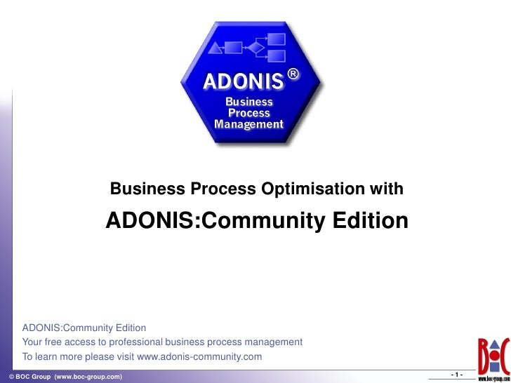 Business Process Optimisation with                           ADONIS:Community Edition       ADONIS:Community Edition    Yo...