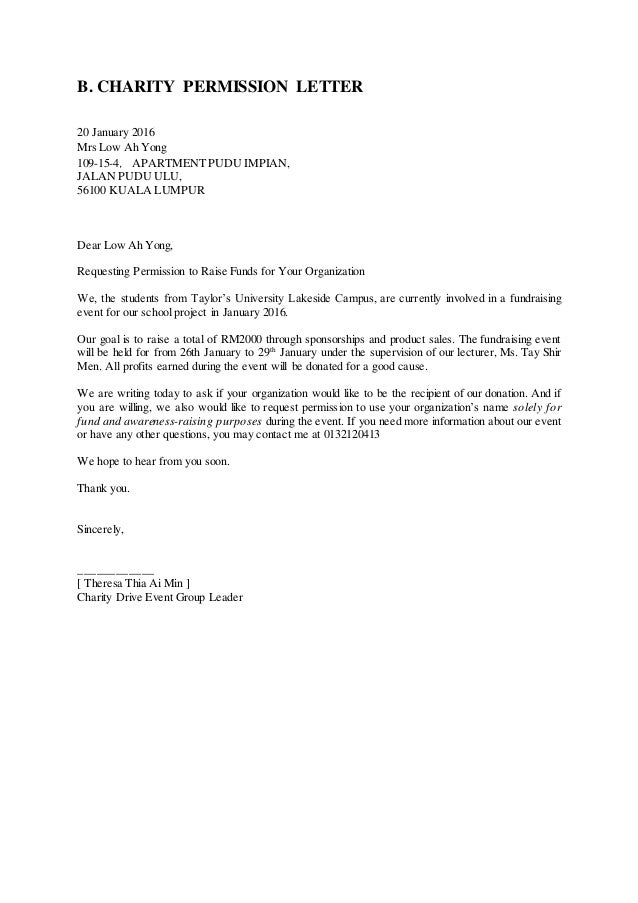 Sample Permission Letter For Doing Project In A Company