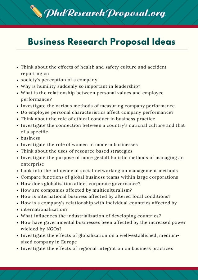 business research proposal ideas