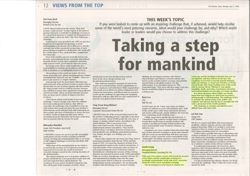 Business Times_Taking a step for a mankind_ 27  July 09