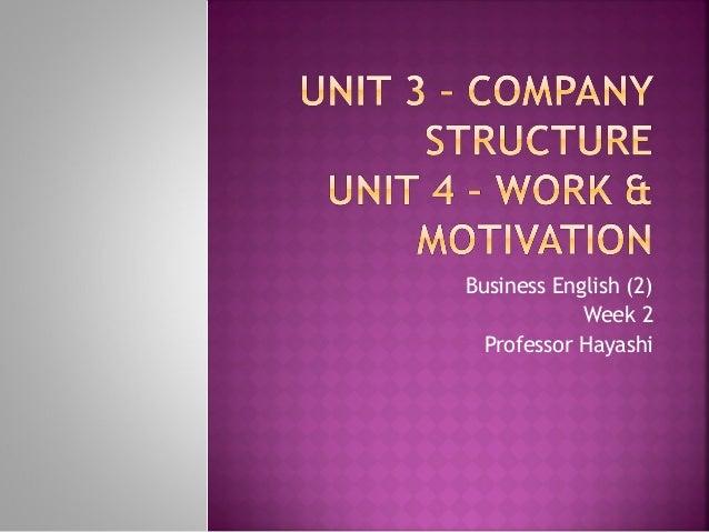 Business English (2) Week 2 Professor Hayashi
