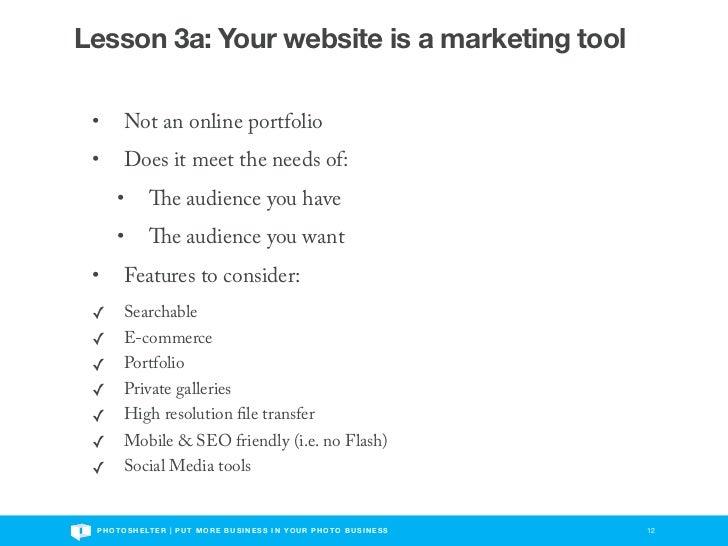 Lesson 3a: Your website is a marketing tool •       Not an online portfolio •       Does it meet the needs of:       •    ...