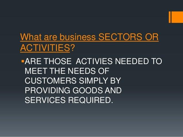 Business activities or sectors Slide 2