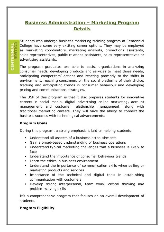 Business Administration – Marketing Program Details Students who undergo business marketing training program at Centennial...