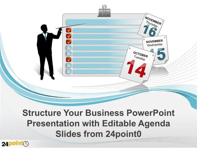 Editable Business Agenda Slides 24point0 has created a set of beautifully designed editable business agenda slides that ca...