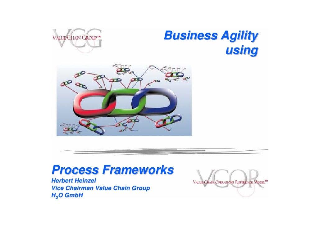 Business Agility                                             using     Process Frameworks Herbert Heinzel Vice Chairman Va...