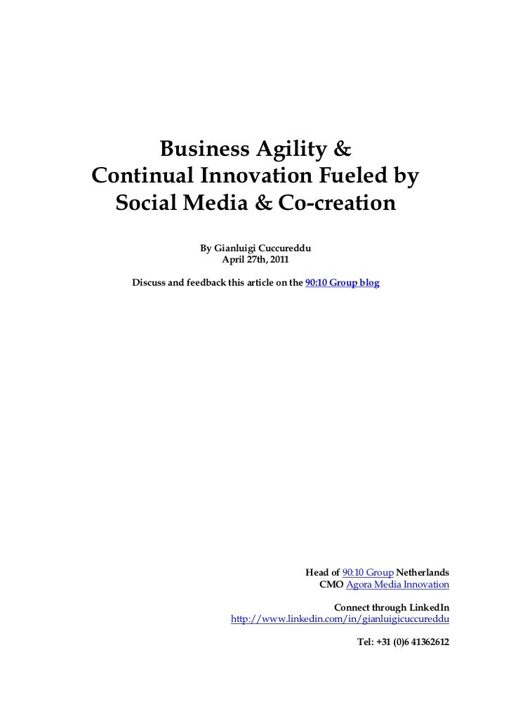 Business Agility &Continual Innovation Fueled by  Social Media & Co-creation                  By Gianluigi Cuccureddu     ...