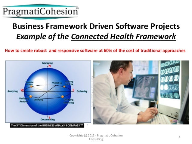 Copyrights (c) 2012 - Pragmatic Cohesion Consulting 1 Business Framework Driven Software Projects Example of the Connected...