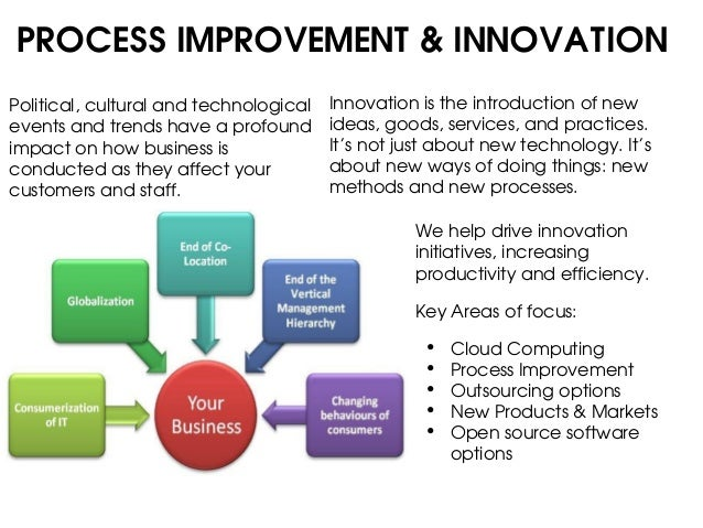 PROCESS IMPROVEMENT & INNOVATIONPolitical, cultural and technological   Innovation is the introduction of newevents and tr...