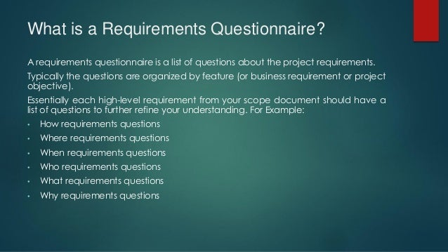 business requirements questionnaire