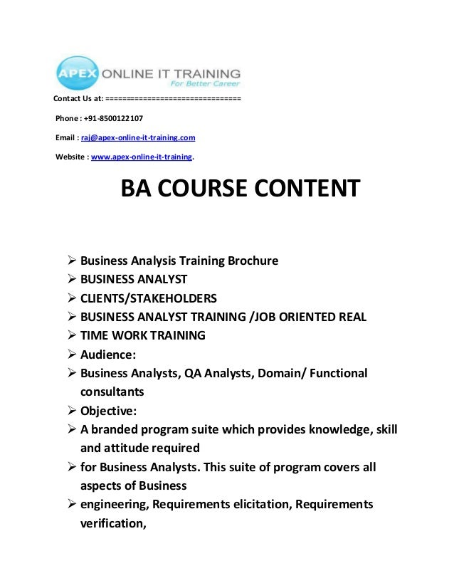 Business analysis ONLINE TRAINING COURSE CONTENT