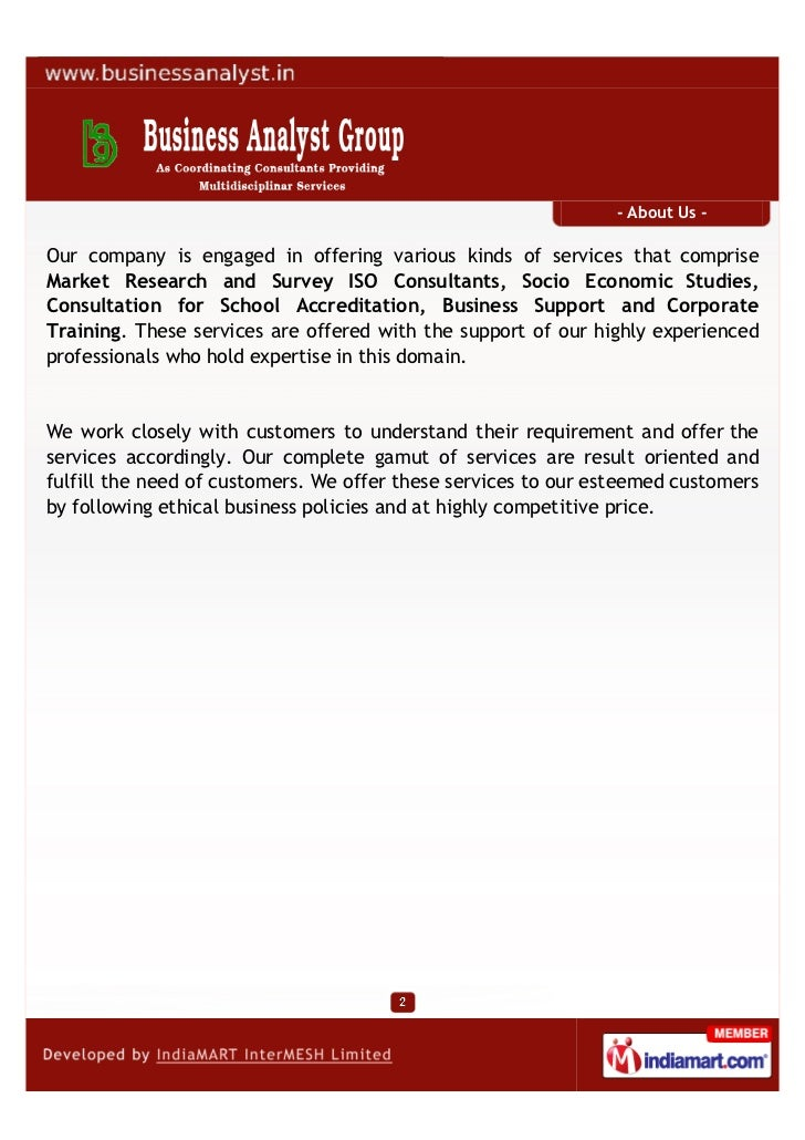 Business Analyst Group, Kolkata, Business Solution Services  Slide 2