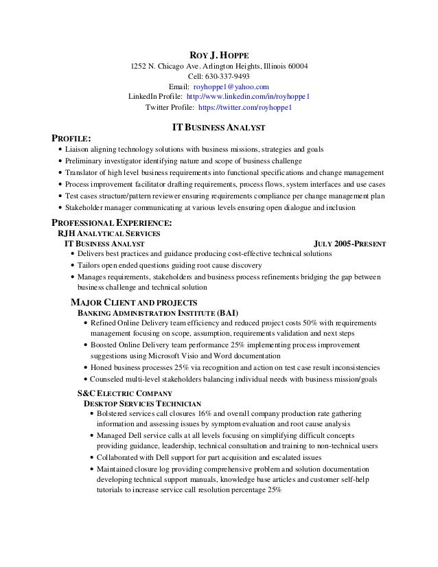 Roy Hoppe It Business Analyst Resume 60601