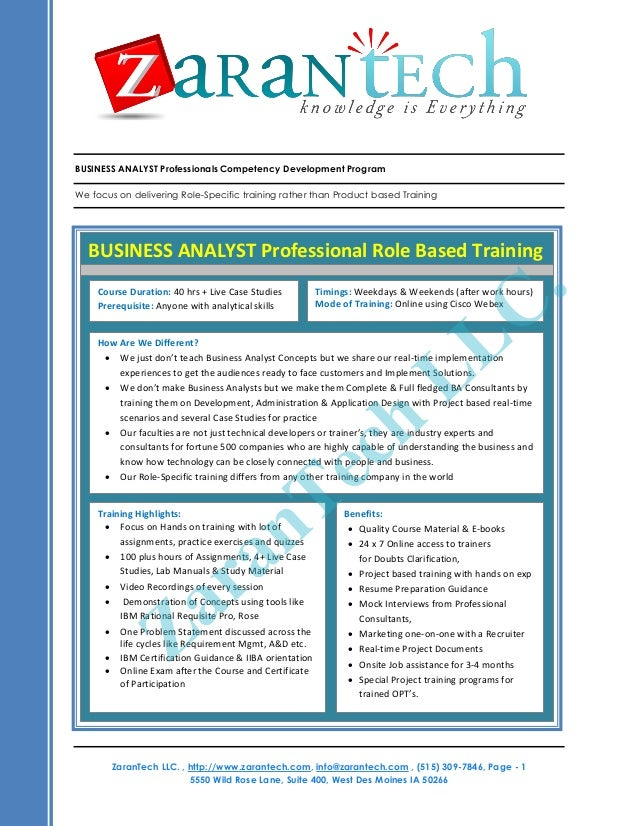 BUSINESS ANALYST Professionals Competency Development Program We focus on delivering Role-Specific training rather than Pr...