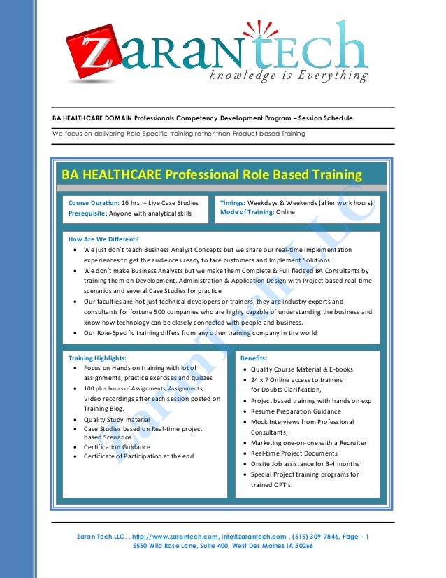 BA HEALTHCARE DOMAIN Professionals Competency Development Program – Session Schedule We focus on delivering Role-Specific ...