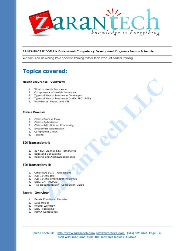 Business Analyst Healthcare Domain Training From Zarantech