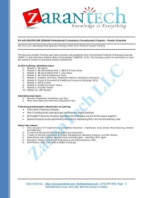 business analyst healthcare resumes