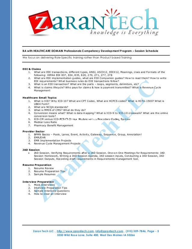 business analyst health care domain training