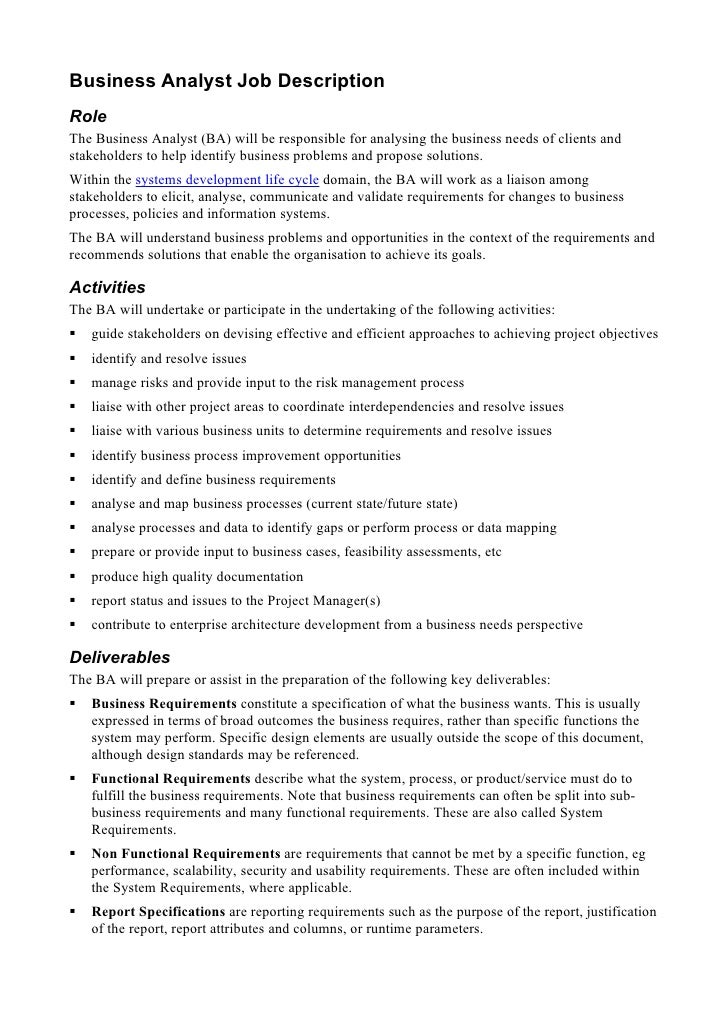 Superior Business Analyst Job Description Role The Business Analyst (BA) Will Be  Responsible For Analysing ...