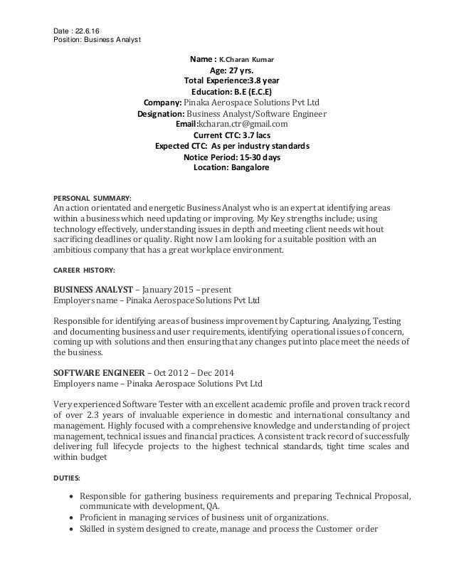 Business Analyst Resume