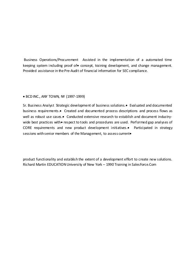 Business Analyst Resume. Treasury ...
