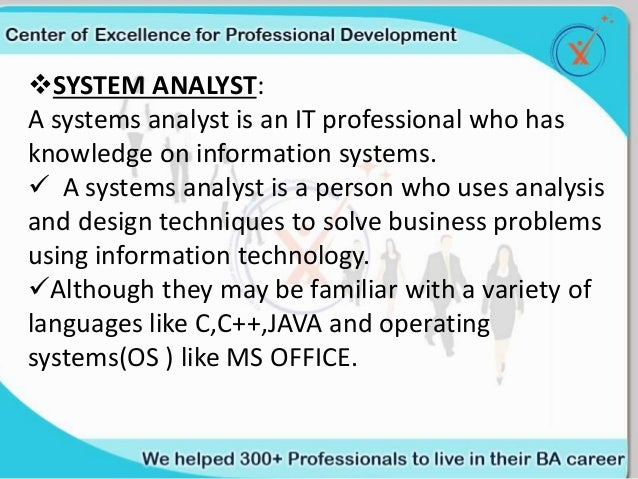 a research on systems analyst