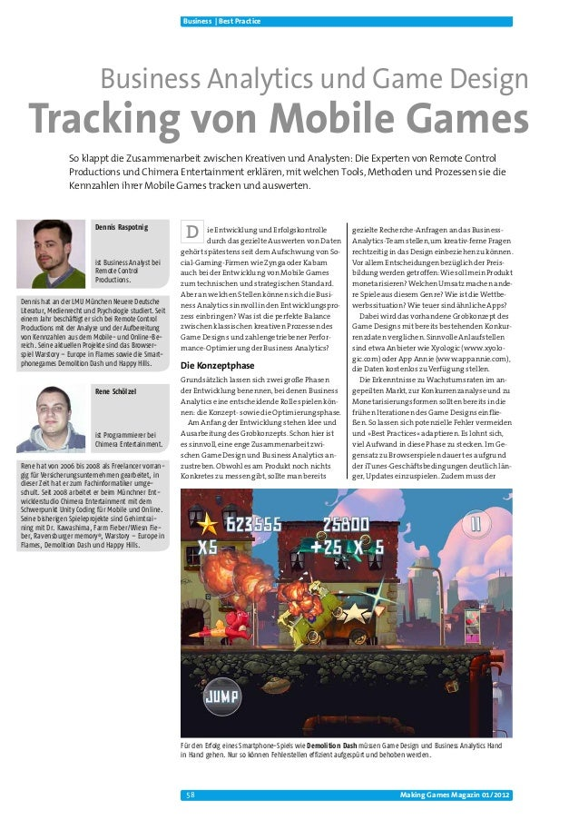 Business | Best Practice                            Business Analytics und Game Design  Tracking von Mobile Games         ...