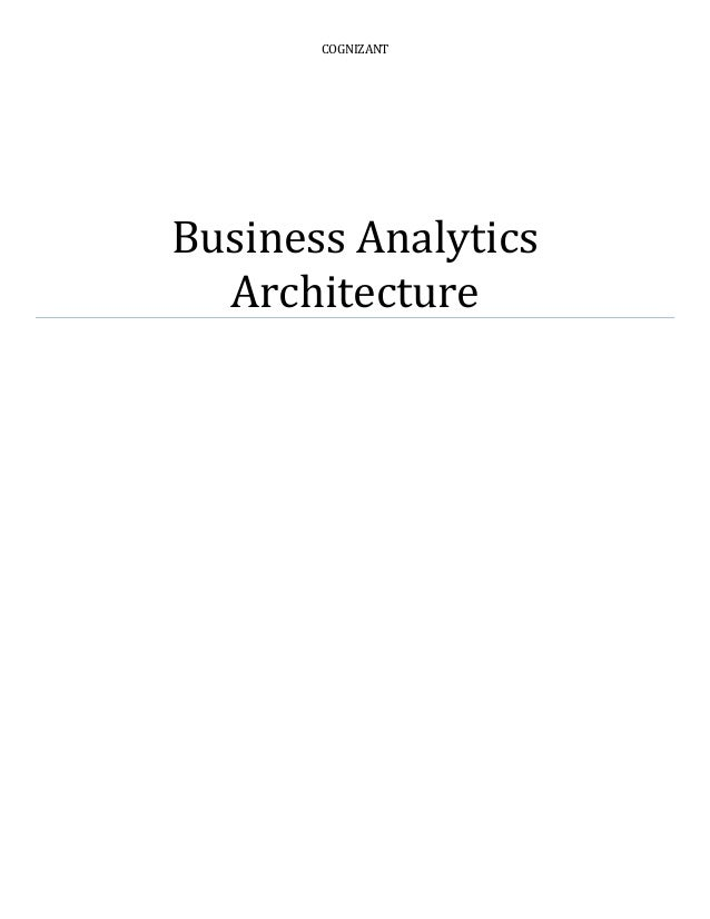 COGNIZANT Business Analytics Architecture