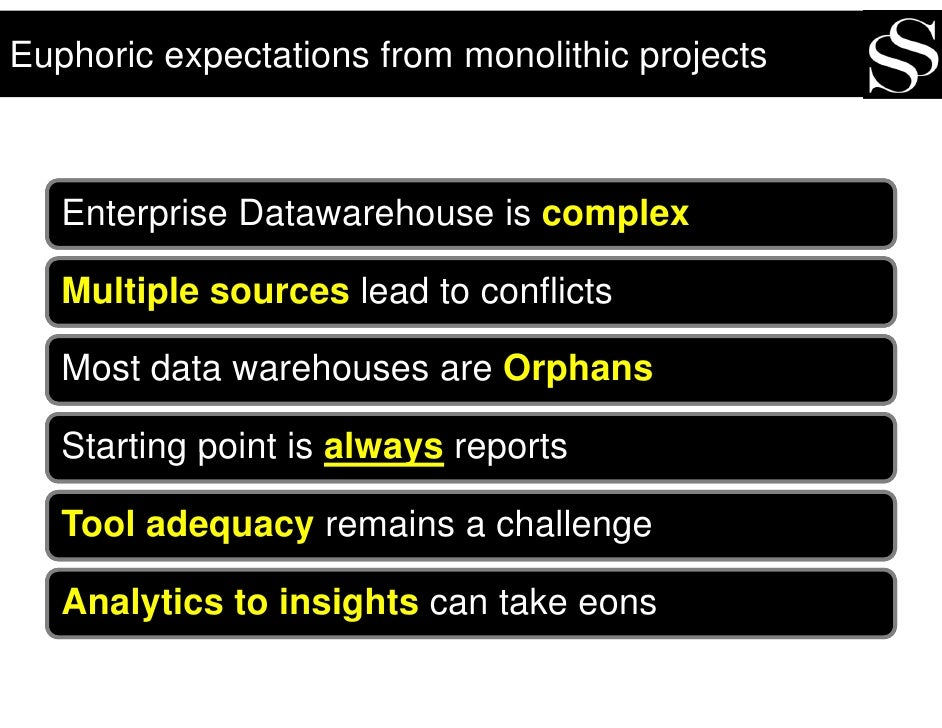 Euphoric expectations from monolithic projects       Enterprise Datawarehouse is complex     Multiple sources lead to conf...