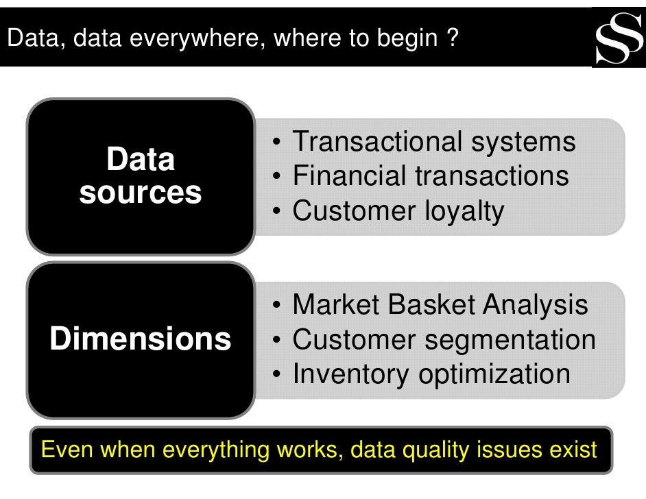 Data, data everywhere, where to begin ?                            • Transactional systems        Data             • Finan...