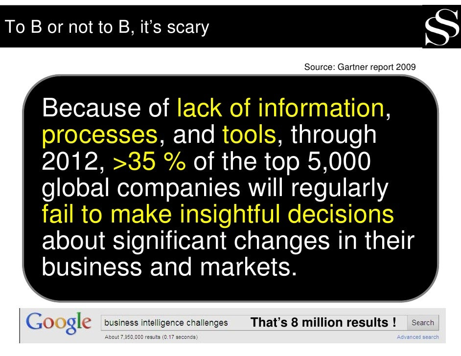 To B or not to B, it's scary                                          Source: Gartner report 2009          Because of lack...