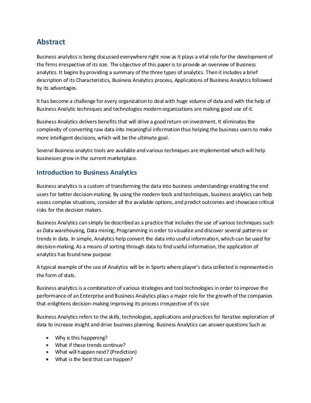 business analytics white paper