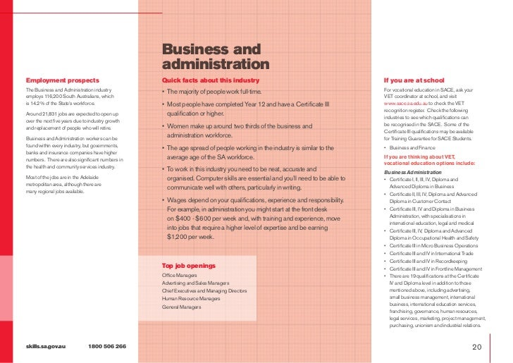 Business and                                                  administrationEmployment prospects                          ...