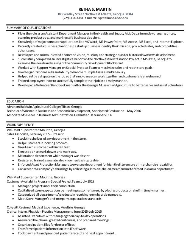 business and economic development resume