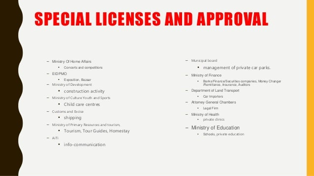 SPECIAL LICENSES AND APPROVAL – Ministry Of Home Affairs • Concerts and competitions – EIDPMO • Exposition, Bazaar – Minis...