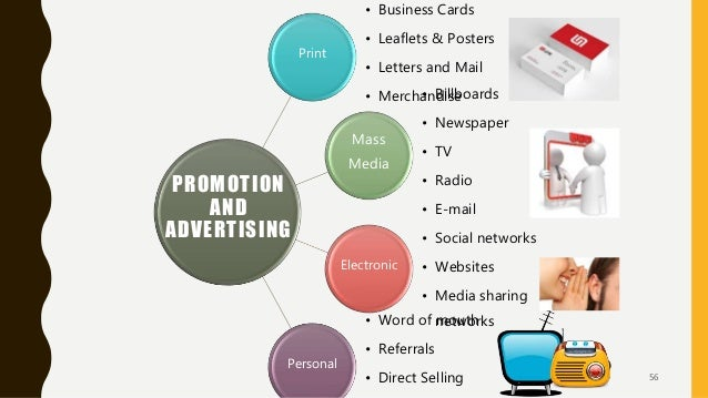 Print • Business Cards • Leaflets & Posters • Letters and Mail • Merchandise Mass Media • Billboards • Newspaper • TV • Ra...