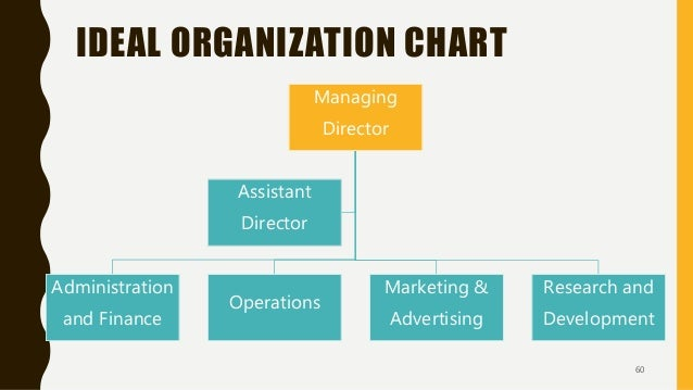 IDEAL ORGANIZATION CHART Managing Director Administration and Finance Operations Marketing & Advertising Research and Deve...