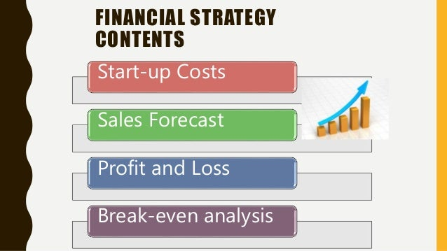 FINANCIAL STRATEGY CONTENTS Start-up Costs Sales Forecast Profit and Loss Break-even analysis