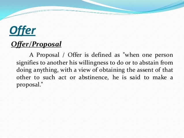 define offer in business law