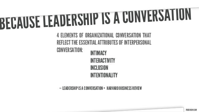 B ECAUSE LE ADERSHIP IS A CONVE RSATION           4 ELEMENTS OF ORGANIZATIONAL CONVERSATION THAT           REFLECT THE ESS...