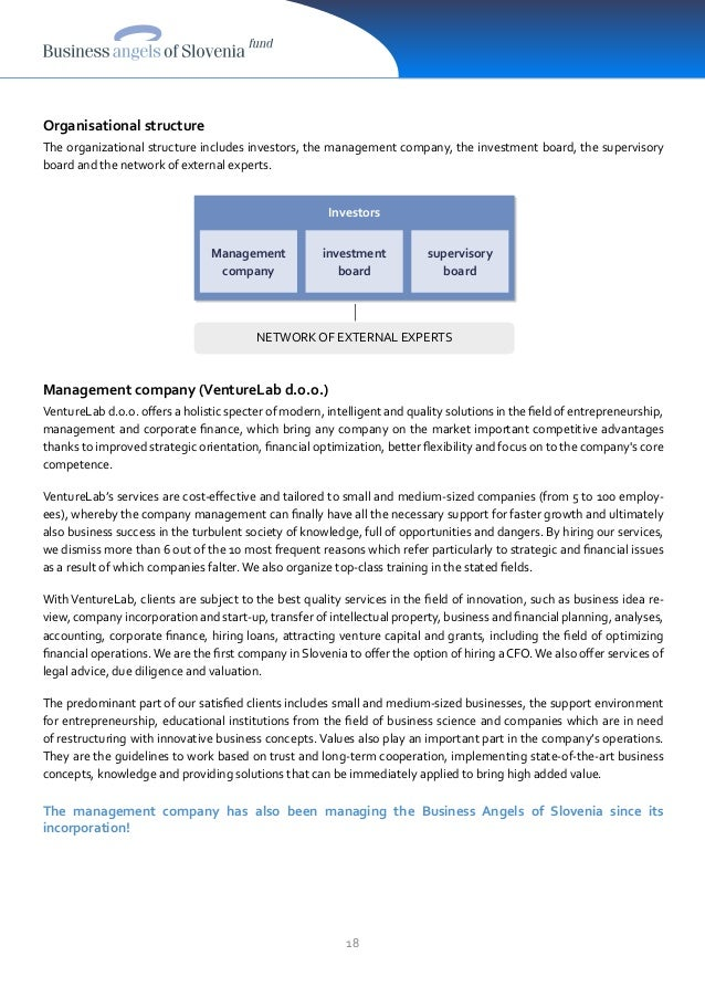 18 Organisational structure The organizational structure includes investors, the management company, the investment board,...