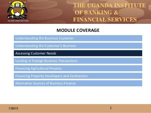 THE UGANDA INSTITUTE OF BANKING & FINANCIAL SERVICES UIBFS ISO 9001:2008 CERTIFIED Understanding the Business Customer Und...