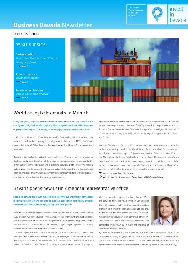 Business Bavaria NewsletterWhat's insideIssue 05 | 20135 minutes with ...Alois Ludwig, Chairman of the ZF ServicesManageme...